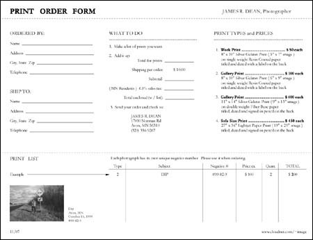 Superb Print Order Form: James R. Dean Photography Pictures Gallery